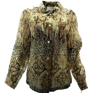 Alfred Dunner Blouse 18 Sheer Animal Print Button